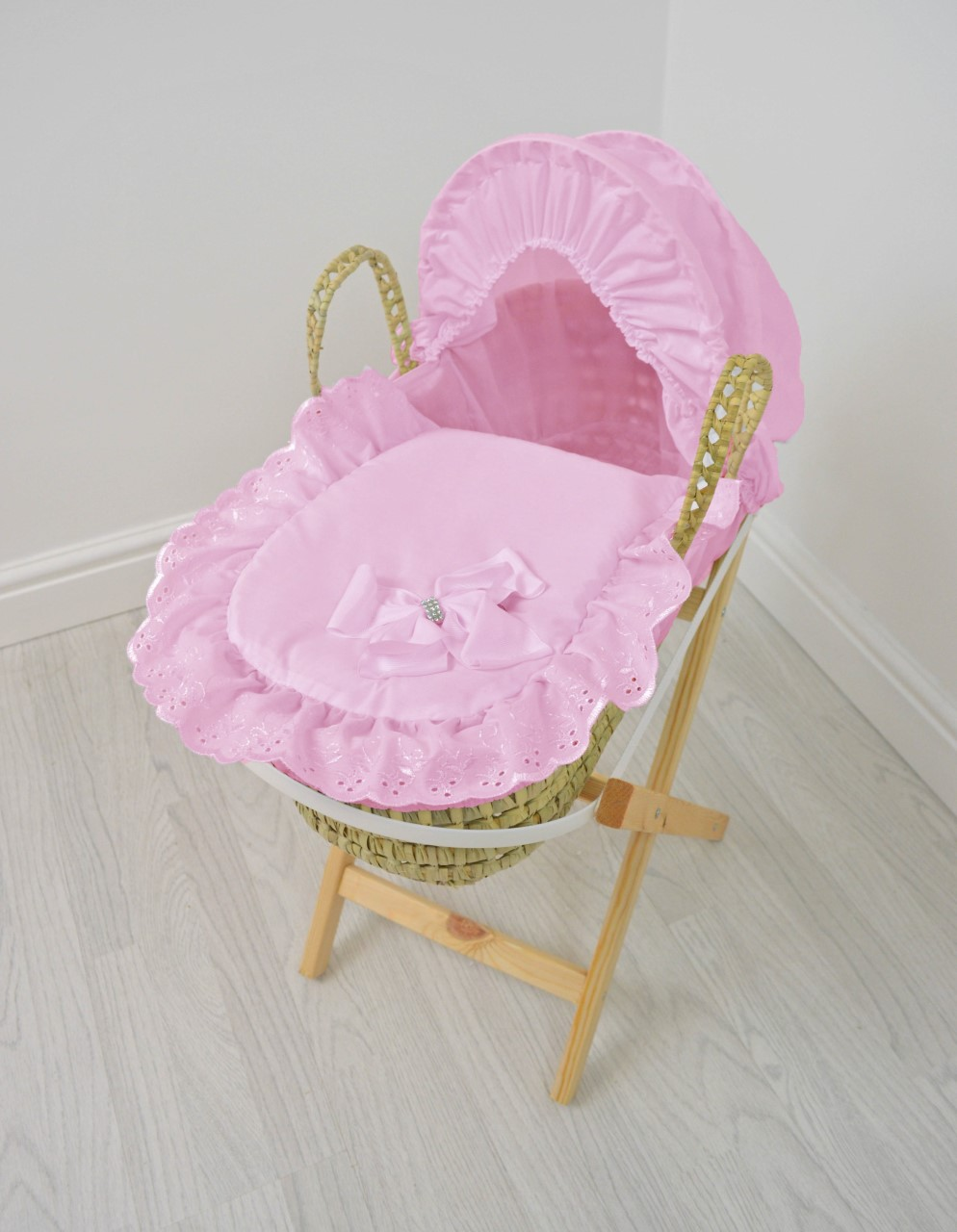 dolls moses basket pink bow  u0026 wooden stand  u2013 leith pram centre