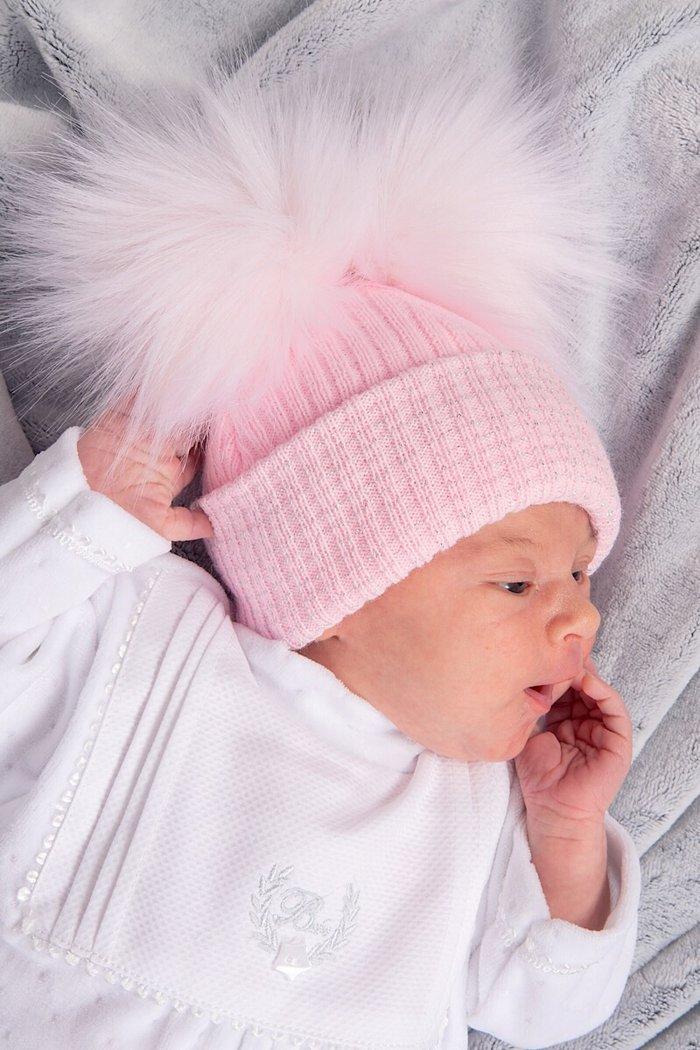 Pink   Silver Ribbed Fur Double Pom Pom Hat – Leith Pram Centre 1c2e6c88a46