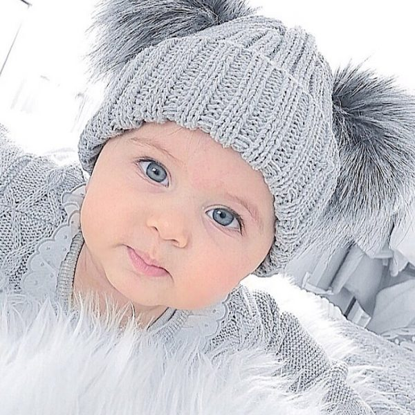 Grey Double Fur Pom Pom Hat