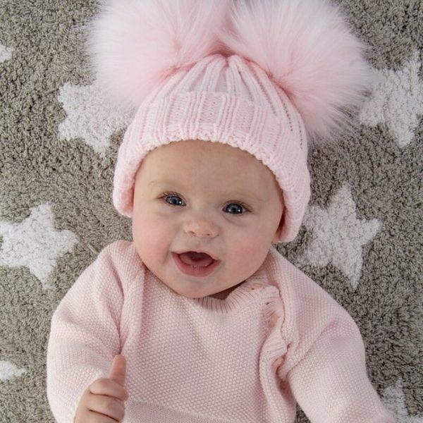 Pink Double Fur Pom Pom Hat
